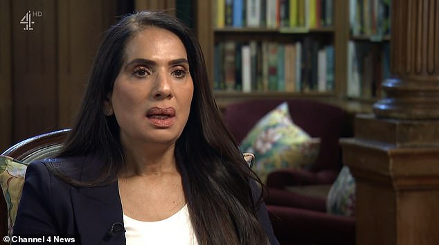 Scotland Yard's former top female Asian officer, Nusrit Mehtab, who is suing the force for £500,000 over a racism claim, says commissioner Dame Cressida Dick should resign. Pictured: The former officer speaking in an interview with Channel 4 News on Thursday