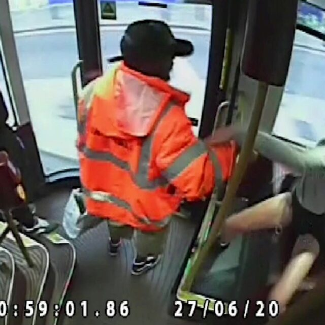 Video screenshot of Abdul Yusuf sexually assaulting a woman as she tried to board a London bus. Picture: Met Police / SWNS.COM