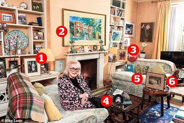 Lady Antonia Fraser, 88, in the drawing room of her west London home
